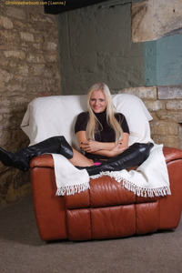 Busty Blonde MILF In Sexy Black Leather Boots