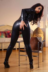 Sexy Black Latex Catsuit