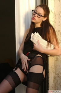 Sexy Jassie looks naughty in her glasses