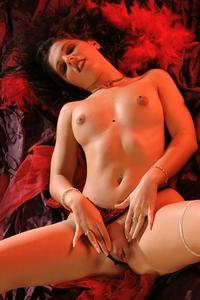 Red hot Marina on set