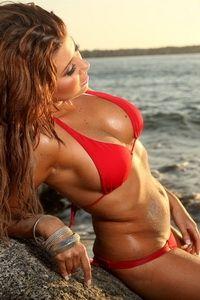 Gemma in sexy red bikini