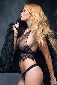 Blonde In Her Seethru Lingerie