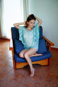 Petite darling Sofi Shane looks super sexy in a diaphanous, turquoise top